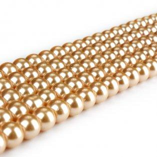 Voskované perly - oranžovozlaté - Ø 8 mm - 10 ks