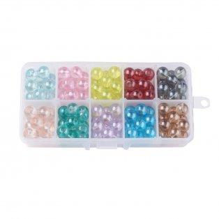 Skleněné transparentní korálky - mix barev - ∅ 10 mm - krabička