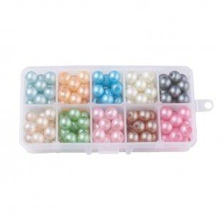 Skleněné matné perleťové korálky - mix barev - ∅ 10 mm - krabička