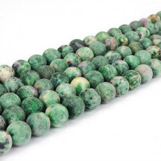 Přírodní bláznivý achát - tmavě zelený - matný - ∅ 8 mm - 1 ks