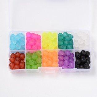 Matné korálky - mix barev - ∅ 8 mm - krabička