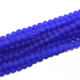 Matné korálky - modré - ∅ 6 mm - 10 ks
