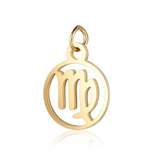 Přívěsek z nerezové oceli - zlatý - znamení zvěrokruhu - panna - 13 x 11 x 1 mm - 1 ks