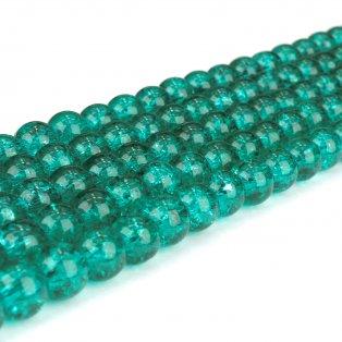 Praskané korálky - smaragdové - ∅ 8 mm - 10 ks
