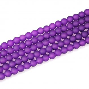 Matné korálky - tmavě fialové - ∅ 10 mm - 10 ks