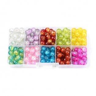 Praskané korálky - mix barev - ∅ 6 mm - krabička