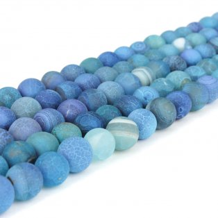 Přírodní ledový achát - duhově modrý - ∅ 6 mm - 1 ks