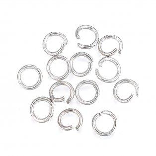 Spojovací kroužek z nerezové oceli - platinové - Ø 6 mm - 10 ks