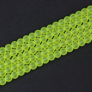 Matné korálky - neonově žluté - ∅ 10 mm - 10 ks