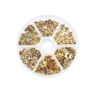 Kovové kaplíky - starozlaté - květiny - 7~10 x 4~10 mm - krabička
