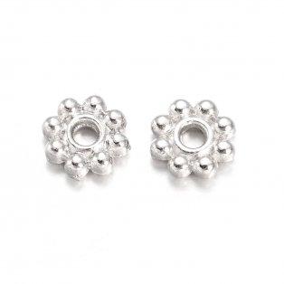 Kovový oddělovací korálek - stříbrný - květina - 5 x 5 x 1,5 mm - 1 ks
