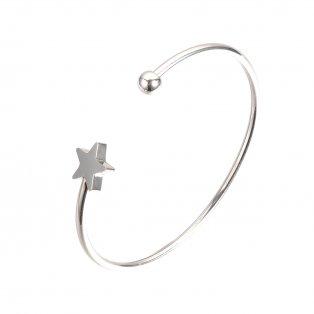 Náramek z nerezové oceli - platinový - hvězda - ∅ 58 mm - 1 ks
