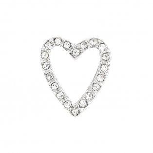 Korálek z nerezové oceli - platinový - srdce - 14 x 12 x 4,5 mm - 1 ks