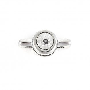 Korálek z nerezové oceli - platinový - bižuterní kamínek - 14,5 x 7,5 x 6,5 mm - 1 ks