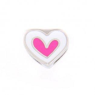 Korálek z nerezové oceli - platinový - srdce - 10,5 x 13 x 5 mm - 1 ks
