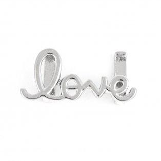 """Korálek z nerezové oceli - platinový - """"love"""" - 13 x 29 x 5 mm - 1 ks"""