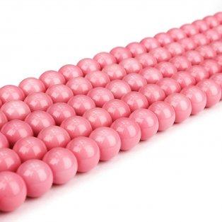 Skleněné korálky - růžové - ∅ 6 mm - 10 ks
