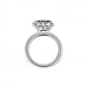 Korálek z nerezové oceli - platinový - prsten - 13 x 10 x 5,5 mm - 1 ks