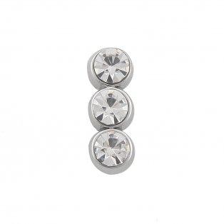 Korálek z nerezové oceli - platinový - bižuterní kamínky - 14 x 5 x 6,5 mm - 1 ks