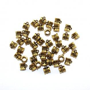 Kovový korálek s očkem - starozlatý - 10 x 7 x 7 mm - 1 ks