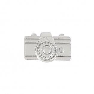 Korálek z nerezové oceli - platinový - fotoaparát - 9 x 14 x 6,5 mm - 1 ks