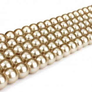 Voskované perly - béžové - Ø 8 mm - 10 ks