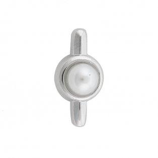 Korálek z nerezové oceli - platinový - perlička - 14,5 x 7,5 x 8 mm - 1 ks