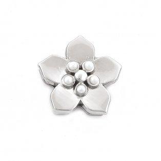 Korálek z nerezové oceli - platinový - květ jasmínu - 13,5 x 13,5 x 6,5 mm - 1 ks