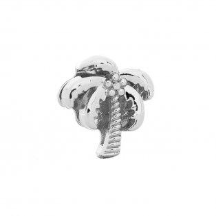 Korálek z nerezové oceli - platinový - palma - 13 x 12 x 5,5 mm - 1 ks