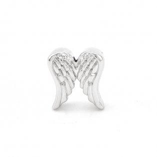 Korálek z nerezové oceli - platinový - andělská křídla - 14 x 12,5 x 6 mm - 1 ks