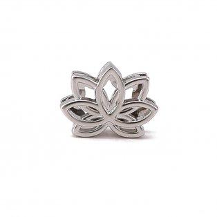 Korálek z nerezové oceli - platinový - lotosový květ - 14,5 x 19 x 5,5 mm - 1 ks