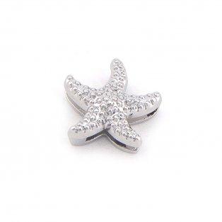 Korálek z nerezové oceli - platinový - hvězdice - 14,5 x 14,5 x 6,5 mm - 1 ks