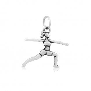 Přívěsek z nerezové oceli - jogínka - pozice bojovníka - 21 x 23 x 2 mm - 1 ks