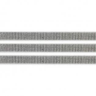 Elastická stuha - bílá - třpytivě stříbrná - 1 cm - 30 cm - 1 ks
