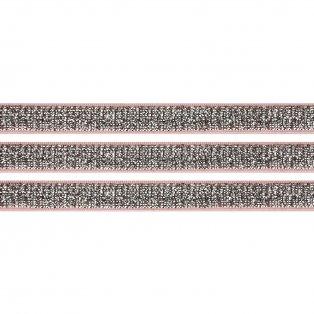 Elastická stuha - světle růžová - třpytivě stříbrná - 1 cm - 30 cm - 1 ks