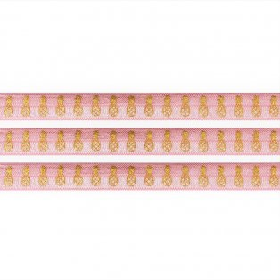 Elastická stuha - světle růžová - ananas - 1,5 cm - 30 cm - 1 ks