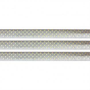 Elastická stuha - šedá - puntíky - 1,5 cm - 30 cm - 1 ks