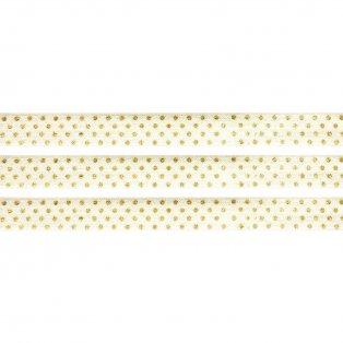 Elastická stuha - krémová - puntíky - 1,5 cm - 30 cm - 1 ks