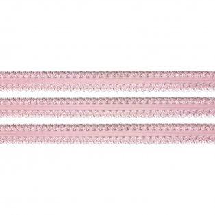 Elastická stuha - světle růžová - krajka - 1,9 cm - 30 cm - 1 ks