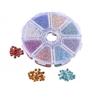 Skleněný rokajl - mix barev - 3 x 2 mm - krabička