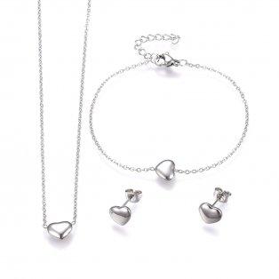 Set řetízku, náramku a náušnic z nerezové oceli - platinový - srdce - 43 cm ; 17 cm ; 7,2 x 9 x 2,8 mm - 1 ks
