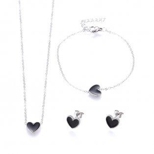 Set řetízku, náramku a náušnic z nerezové oceli - platinový - černé srdce - 43 cm ; 17 cm ; 9,2 x 10 x 1,8 mm - 1 ks
