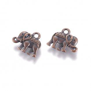 Kovový přívěsek - měděný - slon - 12 x 14 x 2,5 mm - 1 ks