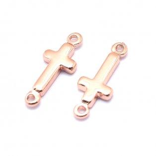 Mosazný mezidíl - růžově zlatý - kříž - 13,5 x 5 x 1,5 mm - 1 ks