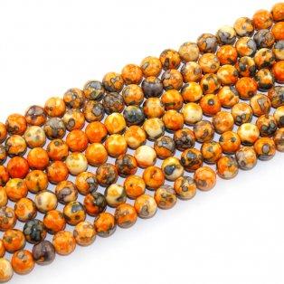 Syntetický oceánský nefrit - oranžovošedý - ∅ 8 mm - 1 ks