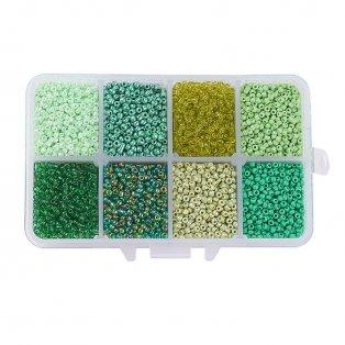 Skleněný rokajl - mix barev - ∅ 4 mm - krabička