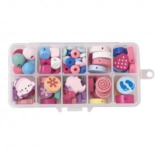 Dřevěné korálky pro děti - mix barev a tvarů - krabička