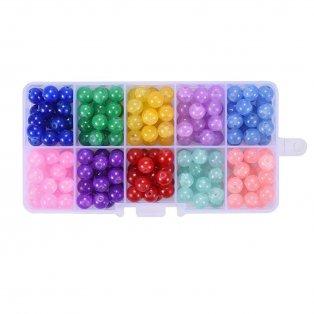 Skleněné praskané korálky - mix barev - ∅ 8 mm - krabička