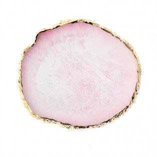 Podtácek z imitace achátu - růžová - 9,2 x 10,3 x 0,7 cm