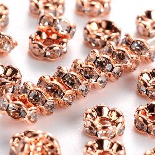 Mosazná rondelka - růžově zlatá - třída AAA - vroubkovaná - ∅ 6 x 3 mm - 1 ks